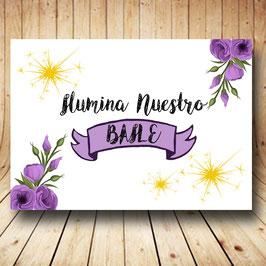 Cartel ilumina nuestro baile flores lilas fb