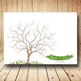 Árbol de huellas banderín verde