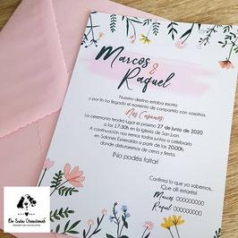 Invitacion flor multicolor
