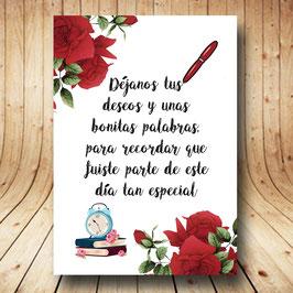 Cartel libro de firmas rosas rojas fb