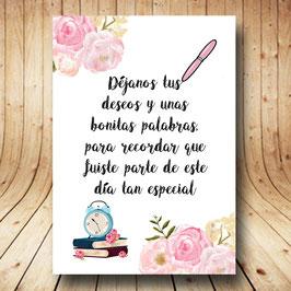 Cartel libro de firmas flores dulces fb