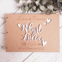 Libro de firmas de madera corazones personalizado