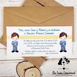 Invitación comunión gemelos 2 niños con topitos