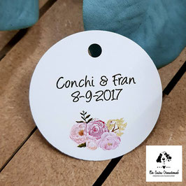 Tarjeta para detalles redonda flores dulces
