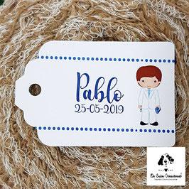 15 Tarjetas detalle rectangular comunión chico tarje blanco puntitos