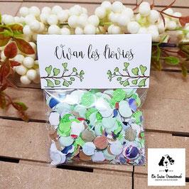 Bolsita de confeti hojas verdes