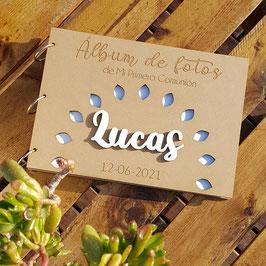 Libro de firmas o fotos en madera comunión modelo luz