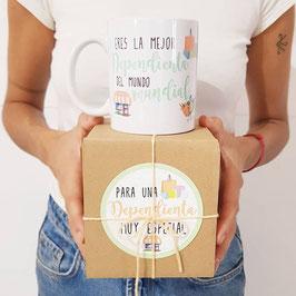 Caja con taza para dependient@