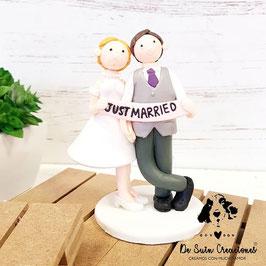 Muñecos tarta Just Married 2 corbata lila