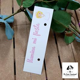 Cartón para bengala comunión niña rubia letra rosa