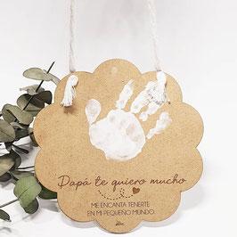Placa madera en flor para la manita o el pie de tu bebé