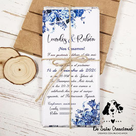 Invitación tableta de chocolate Rosas azules