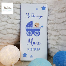 Tableta de chocolate carrito azul (Bautizo)