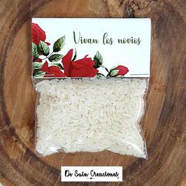 Bolsa de arroz rosas rojas