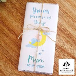 Tableta de chocolate para Bautizo bebe luna