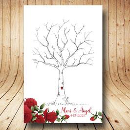 Árbol de huellas colección rosas rojas