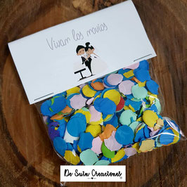Bolsa de confeti novios pastel