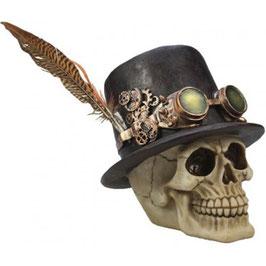 Le crâne chapeau plume steampunk