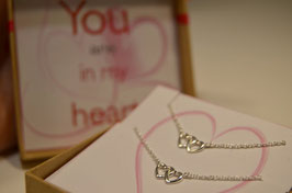 "Mutter Tochter Kette ""You are in My heart"" - Sterling Silber"