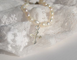 """Taufarmband """"Pearl""""- mit Kreuz"""