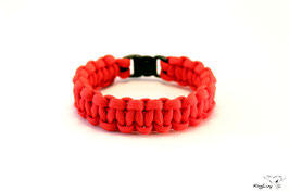 "Paracord Survival Armband, Red ""Single"""