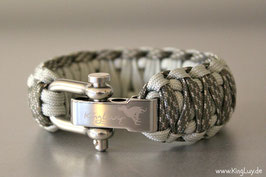 "Paracord Survival Armband, Silver Surfer ""Double Light"""