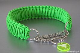 """Paracord Survival Halsband, Neon Green mit Zugstoppkette """"Triple"""""""