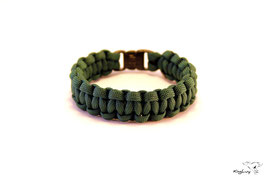 "Paracord Survival Armband, Hunter Green ""Single"""