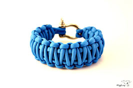 "Paracord Survival Armband, Colonial Blue ""Double"""