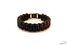"Paracord Survival Armband, Black ""Single"""