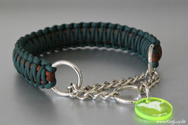 "Paracord Survival Halsband, The Hunter ""Double"" Zugstoppkette"