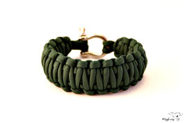 "Paracord Survival Armband, Hunter Green ""Double"""