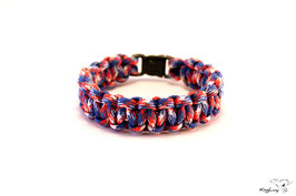 "Paracord Survival Armband, Red White Blue ""Single"""