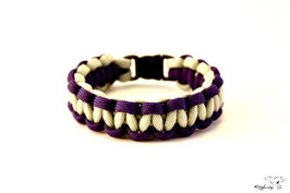"KingLuy Paracord Survival Armband, Silver/Purple ""Single"""