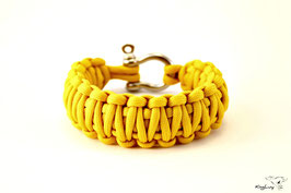 "Paracord Survival Armband, Yellow ""Double"""