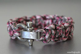"Paracord Survival Armband, Pink Camo ""Single"""