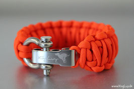 "Paracord Survival Armband, Neon Orange ""Double"""