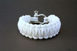 "Paracord Survival Armband, White ""Double"""
