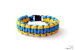 "Paracord Survival Armband, Colonial Blue/Yellow ""Single"""
