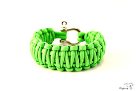 "Paracord Survival Armband, Neon Green ""Double"""