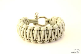 "Paracord Survival Armband, Silver ""Double"""