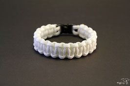 "Paracord Survival Armband, White ""Single"""