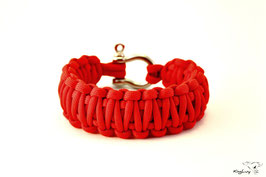 "Paracord Survival Armband, Red ""Double"""