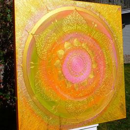 ♥ Goldenes Engelmandala - Hochwertiges Leinwand-Energiebild (Stärke 4,5 cm),  Größe 120 x 120  cm