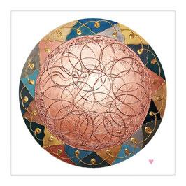 "Goldenes Engelmandala ""Selbstliebe & Verbundenheit"",  Hochwertiger Leinwanddruck - 30 x 30 cm"