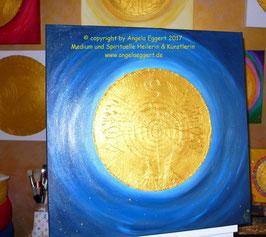 """NEU: Aus meiner """"Magic-Univers-Kollektion"""" ♥: Goldenes Engelmandala - Hochwertiges Leinwand-Energiebild (Stärke 4,5 cm) , """"Engel der Erneuerung"""",  Größe 60 x 60 cm"""