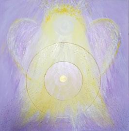 """NEU: Aus meiner """"wassermann-collection"""" ♆: Goldenes Engelmandala - Hochwertiges Leinwand-Energiebild , """"Jesus Christus & St. Germain"""",  Größe 80 x 80 cm"""