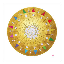 "Goldenes Engelmandala ""ENGEL DER GNADE"",  Hochwertiger Leinwanddruck - 30 x 30 cm"