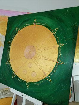 ♥ Goldenes Engelmandala - Hochwertiges Leinwand-Energiebild (Stärke 4,5 cm),  Größe 100 x 100  cm