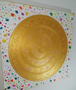 "♥NEU: Goldenes Engelmandala - Hochwertiges Leinwand-Energiebild (Stärke 4,5 cm),  ""Tanz des Lebens"", Größe 100 x 100  cm"
